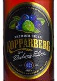 伦敦,英国- 2018年3月10日:Kopparberg优质萍果汁冷的瓶标签与蓝莓和石灰味道的在白色 库存图片
