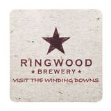 伦敦,英国- 2018年2月04日:Ringwood啤酒厂在白色隔绝的beermat沿海航船 免版税库存照片