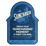 伦敦,英国- 2018年2月04日:Sunchaser啤酒在白色隔绝的beermat沿海航船 免版税图库摄影