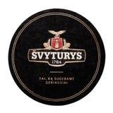 伦敦,英国- 2018年2月04日:Svyturys啤酒厂在白色隔绝的beermat沿海航船 免版税库存照片