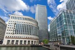 伦敦,英国- 2016年6月17日:企业大厦和摩天大楼在金丝雀码头,伦敦,大英国 库存图片