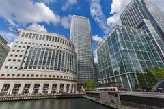 伦敦,英国- 2016年6月17日:企业大厦和摩天大楼在金丝雀码头,伦敦,大英国 免版税库存图片