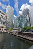 伦敦,英国- 2016年6月17日:企业大厦和摩天大楼在金丝雀码头,伦敦,大英国 免版税库存照片