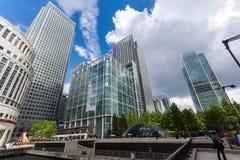 伦敦,英国- 2016年6月17日:企业大厦和摩天大楼在金丝雀码头,伦敦,大英国 免版税图库摄影