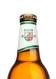 伦敦,英国- 2017年3月21日:瓶在白色的皮尔逊Urquell啤酒 它自1842在Pilsen,捷克以来被生产了 免版税库存图片