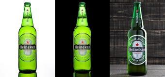 伦敦,英国- 2016年10月17日:瓶海涅肯在三不同背景的储藏啤酒 海涅肯是Hei重要产品  免版税图库摄影