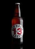 伦敦,英国- 2017年3月30日:瓶蛇麻草议院13在黑色的储藏啤酒 库存图片