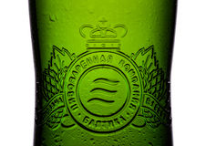 伦敦,英国- 2017年5月15日:装瓶标签储藏啤酒在白色的第七 Baltika是第二大酿造的公司在俄罗斯 免版税图库摄影
