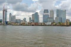 伦敦,英国- 2016年6月17日:从格林威治,伦敦,大英国的金丝雀码头视图 免版税图库摄影