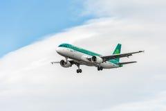 伦敦,英国- 2016年8月22日:EI-EDS爱尔兰航空航空公司空中客车A320着陆在希思罗机场,伦敦中 图库摄影