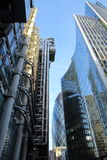 伦敦,英国- 2016年1月25日:Lloyds大厦和威利斯塔华森大厦在市的财政区Lond 库存图片