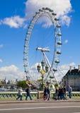 伦敦,英国- 2014年5月14日-伦敦眼睛是巨型弗累斯大转轮 免版税库存照片