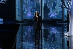 伦敦,英国- 12月02 :在2014年维多利亚的秘密时装表演期间,歌手Hozier执行 库存图片
