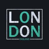 伦敦,英国T恤杉的印刷术图表 设计原始的服装的图表印刷品 向量 库存例证