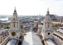 伦敦从圣保罗大教堂的顶端市视图 库存照片