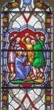 伦敦-圣斯蒂芬石刑satined玻璃的在教会圣斯蒂芬` s罗切斯特行 免版税库存图片