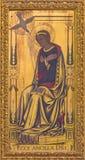 伦敦-圣母玛丽亚作为通告绘画的正确的部分在木头的在教会圣Clement ` s的法坛 图库摄影