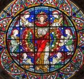 伦敦-在天使中的复活的耶稣基督在彩色玻璃在教会圣迈克尔Cornhill里 免版税图库摄影
