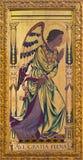 伦敦-天使加百利作为通告绘画的左部分在木头的在教会圣Clement ` s的法坛 图库摄影