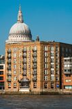 伦敦- 2011年3月4日-圣保罗偷看在一个规则大厦,伦敦后的大教堂的圆顶 图库摄影