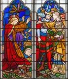 伦敦-拘捕耶稣在彩色玻璃的Gethsemane庭院里在教会圣迈克尔Cornhill里 免版税图库摄影