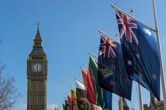 伦敦- 3月13 :大本钟看法横跨议会正方形的在Lo 免版税库存图片