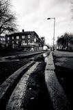 伦敦- 1月18 :市内贫民区伦敦老街道地区1月的 免版税库存图片