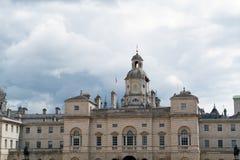伦敦- 7月30 :老大厦骑马卫兵游行在伦敦 库存图片