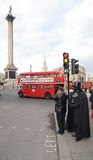 Darth Vader Londons特拉法加广场地区2013年3月14日 图库摄影