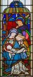 伦敦-耶稣基督诞生彩色玻璃的在教会圣迈克尔Cornhill里 免版税库存图片