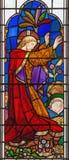 伦敦-耶稣祷告在彩色玻璃的Gethsemane庭院里在教会圣迈克尔Cornhill里 免版税图库摄影