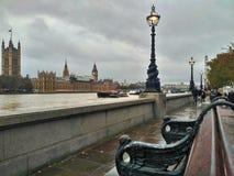 伦敦/英国- 2016年11月01日:河沿 在泰晤士河的全景,伦敦眼,威斯敏斯特宫 免版税库存图片