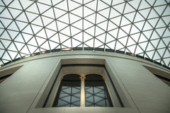 伦敦 主要大厅大英博物馆内部有图书馆建筑的在内在围场 免版税库存图片