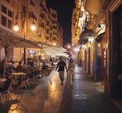 巴伦西亚咖啡馆夜 免版税库存照片
