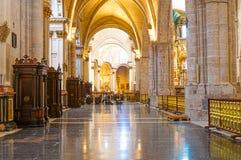 巴伦西亚大教堂寺庙内部在巴伦西亚,西班牙 免版税库存图片