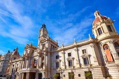 巴伦西亚市Ayuntamiento大厦正方形广场 免版税库存图片