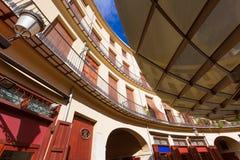 巴伦西亚广场雷东达岛是一个圆的正方形在西班牙 免版税库存图片