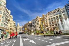 巴伦西亚西班牙|Plaza del Ayuntamiento 库存照片