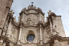 巴伦西亚,大教堂教会的门面 库存照片