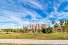 巴伦西亚,西班牙,从公园的看法 库存图片