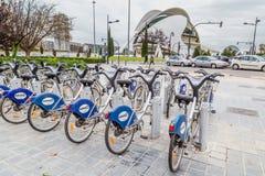 巴伦西亚,西班牙- 2016年12月01日:公开城市自行车 库存照片