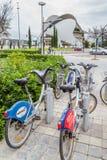 巴伦西亚,西班牙- 2016年12月01日:公开城市自行车 库存图片
