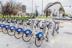 巴伦西亚,西班牙- 2016年12月01日:公开城市自行车 免版税库存图片
