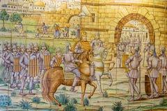 巴伦西亚,西班牙- 2016年12月02日:老瓦片圣徒凯瑟琳塔 库存图片