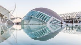 巴伦西亚,西班牙- 2016年12月02日:Hemisferic和科技馆 免版税图库摄影