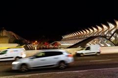 巴伦西亚,西班牙-艺术城市的12月31日夜视图在城市 免版税库存图片