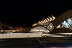 巴伦西亚,西班牙-艺术城市的12月31日夜视图在城市 库存图片