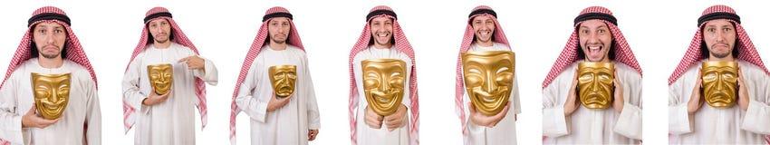 伪善概念的阿拉伯人在白色 库存照片