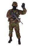 伪装制服的英国陆军战士 免版税库存照片