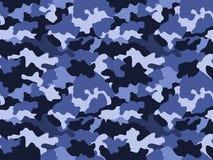 伪装在蓝色的样式背景,无缝 军事时尚抽象几何纹理 向量例证